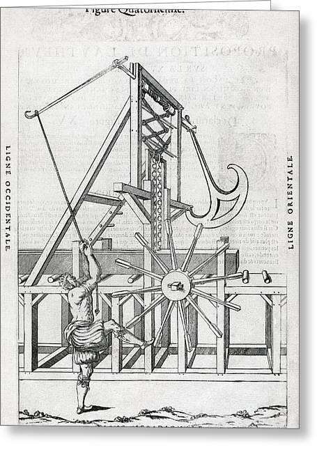 Wood Cutting Tools Greeting Cards - Sawmill, 16th Century Artwork Greeting Card by Middle Temple Library