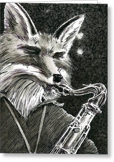 Sax Fox Greeting Card by Scott Alberts