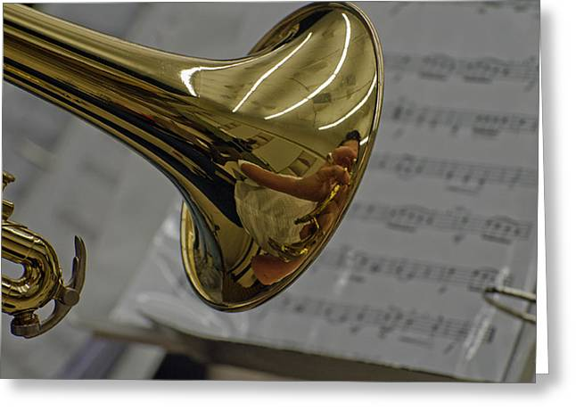 Intruments Greeting Cards - Sax reflection Greeting Card by Cheryl Cencich