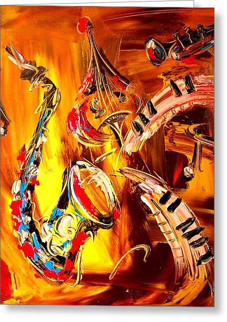 Fine Art Prints Framed Prints Greeting Cards - Saxohone Greeting Card by Mark Kazav