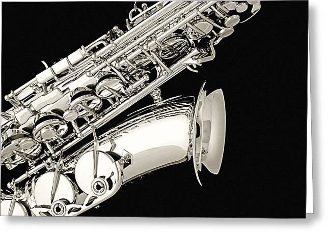 Mac K Miller Greeting Cards - Saxophone Black and White Greeting Card by M K  Miller
