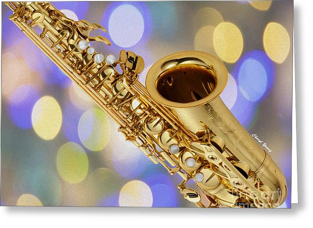 Music Store Greeting Cards - Saxophone Greeting Card by Cheryl Young