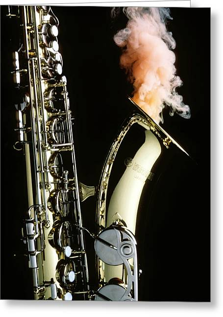 Saxophones Greeting Cards - Saxophone with smoke Greeting Card by Garry Gay