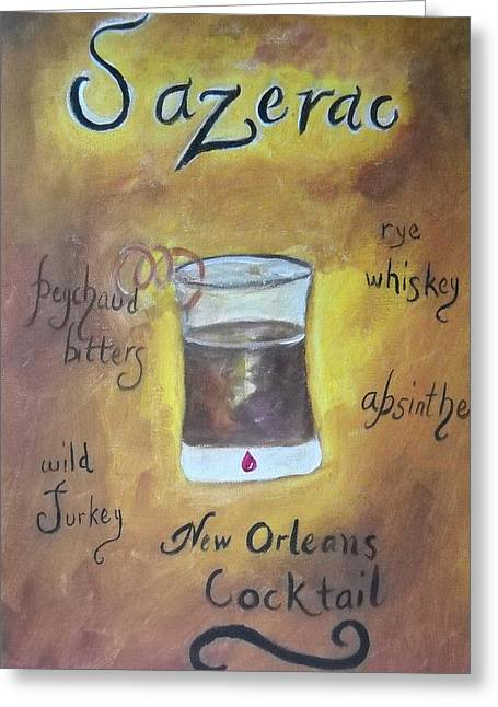 Sazerac Cocktail Greeting Card Greeting Cards - Sazerac Greeting Card by Marian Hebert