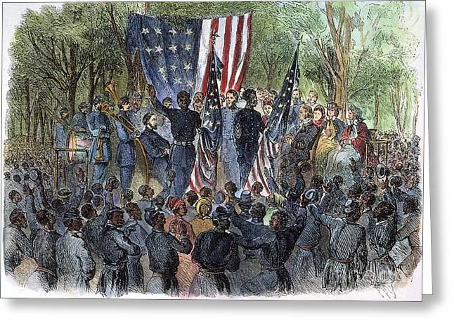 Proclamation Greeting Cards - Sc: Emancipation, 1863 Greeting Card by Granger