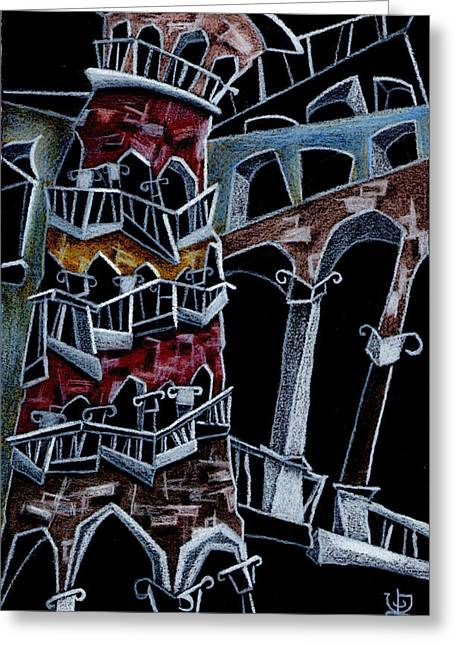 Night Lamp Drawings Greeting Cards - SCaLA Del BoVoLO Greeting Card by Arte Venezia