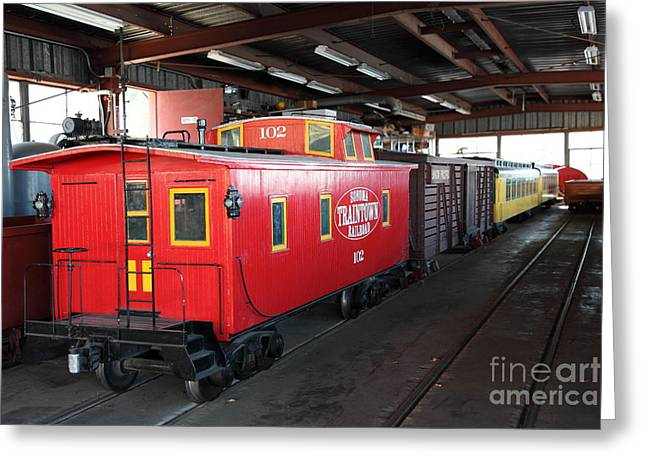 Train Rides Greeting Cards - Scale Caboose - Traintown Sonoma California - 5D19240 Greeting Card by Wingsdomain Art and Photography
