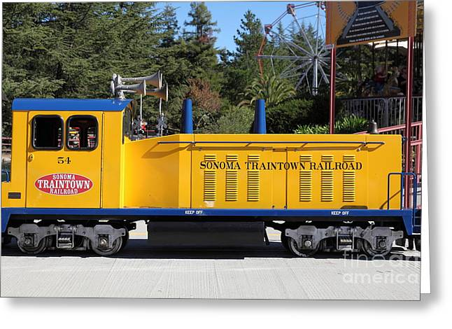 Train Rides Greeting Cards - Scale Locomotive - Traintown Sonoma California - 5D19237 Greeting Card by Wingsdomain Art and Photography