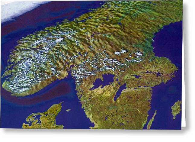 Aerial Photograph Greeting Cards - Scandinavia Greeting Card by Science Source