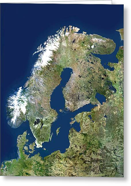 Norwegian Sea Greeting Cards - Scandinavia, Satellite Image Greeting Card by Planetobserver