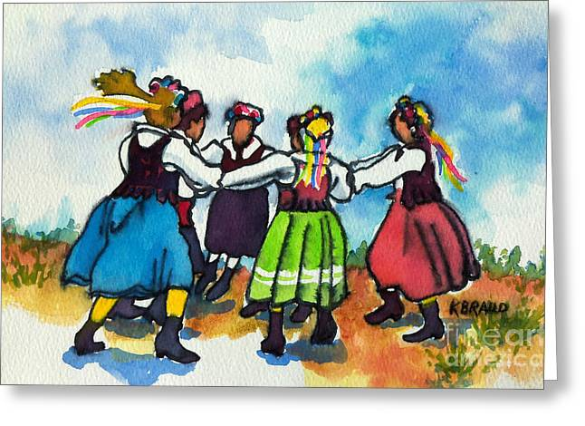 Black Boots Mixed Media Greeting Cards - Scandinavian Dancers Greeting Card by Kathy Braud