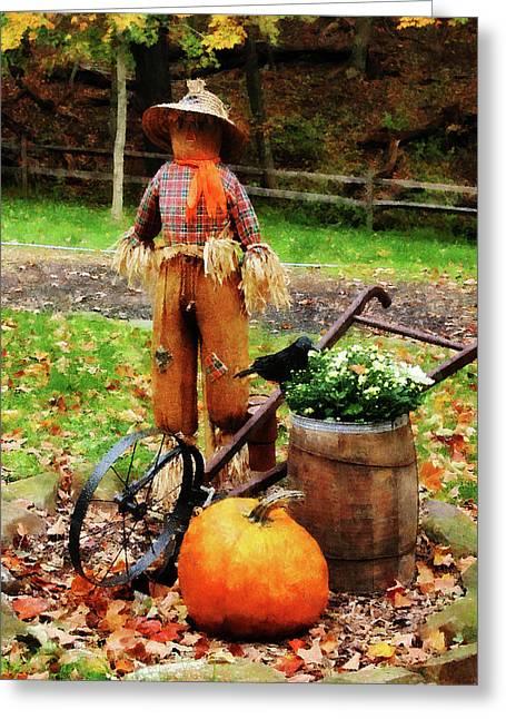 Pumpkins Greeting Cards - Scarecrow and Pumpkin Greeting Card by Susan Savad