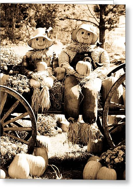 Old Barns Greeting Cards - Scarecrow couple Greeting Card by Emanuel Tanjala