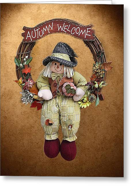 Vine Leaves Greeting Cards - Scarecrow on Autumn Wreath Greeting Card by Linda Phelps