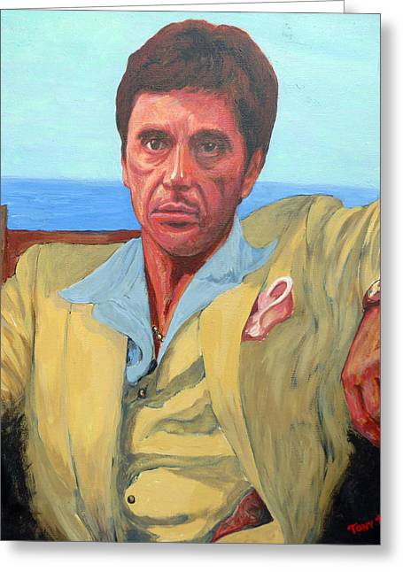 Tony Montana Greeting Cards - Scarface - Tony Montana Greeting Card by Tom Roderick