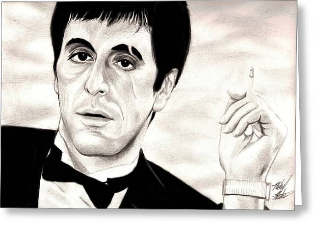SCARFACE Greeting Card by Michael Mestas