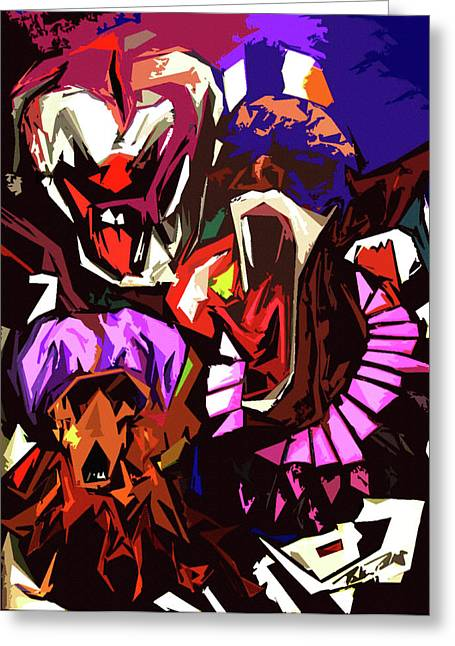 Jester Greeting Cards - Scary Clowns Abstract Greeting Card by Peter Piatt