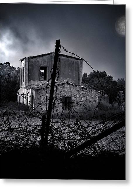 Aged Art Greeting Cards - Scary House Greeting Card by Stylianos Kleanthous