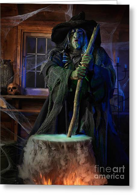 Fabled Greeting Cards - Scary Old Witch with a Cauldron Greeting Card by Oleksiy Maksymenko