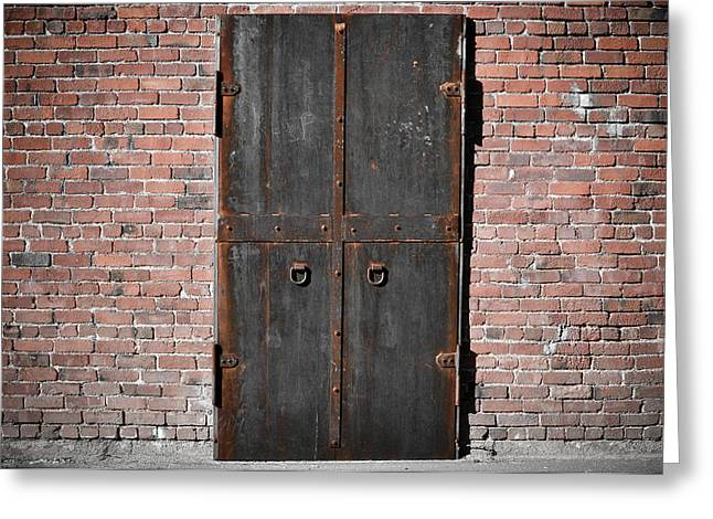 Entryway Greeting Cards - Scary Steel Door Greeting Card by Brandon Bourdages