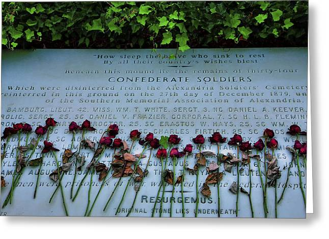 Confederate Monument Greeting Cards - Scatter Roses On My Grave Greeting Card by Steven Ainsworth