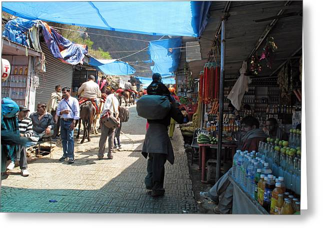 Scene At The Climbing Path Leading To The Vaishno Devi Shrine In Jammu And Kashmir State In India Greeting Card by Ashish Agarwal