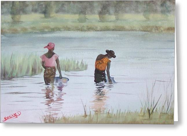 Riviere Paintings Greeting Cards - Scene Dafrique  Scene Of Africa Greeting Card by Dominique Serusier