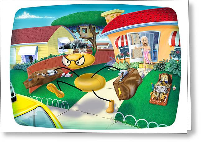 Screen Doors Greeting Cards - Scene from a Cartoon Marriage Greeting Card by Ross Carroll