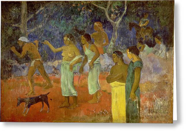 Island Life Greeting Cards - Scene from Tahitian Life Greeting Card by Paul Gauguin