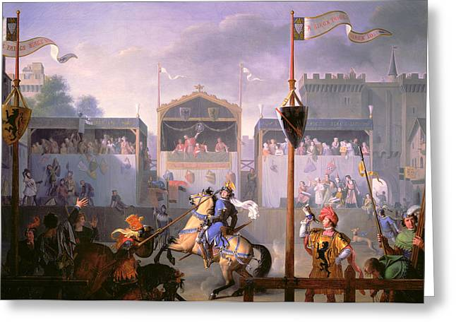 Chivalry Greeting Cards - Scene of a Tournament in the Fourteenth Century Greeting Card by Pierre Henri Revoil