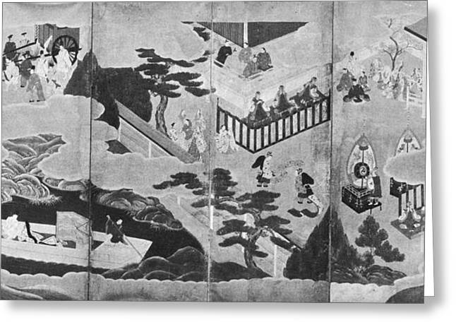 Japanese School Greeting Cards - Scenes From The Tale Of Genji Greeting Card by Photo Researchers