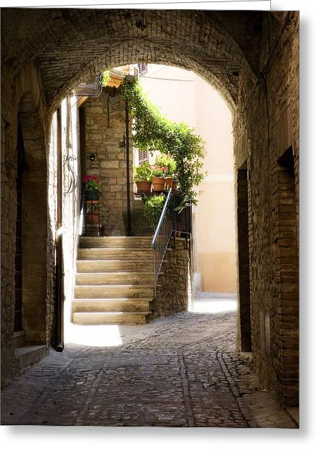 Brick Street Greeting Cards - Scenic Archway Greeting Card by Marilyn Hunt