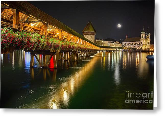 Various Greeting Cards - Scenic Night View of the Chapel Bridge in Old Town Lucerne Greeting Card by George Oze