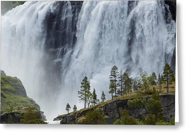 Scandanavia Greeting Cards - Scenic Remote Waterfall Greeting Card by Ralph Lee Hopkins