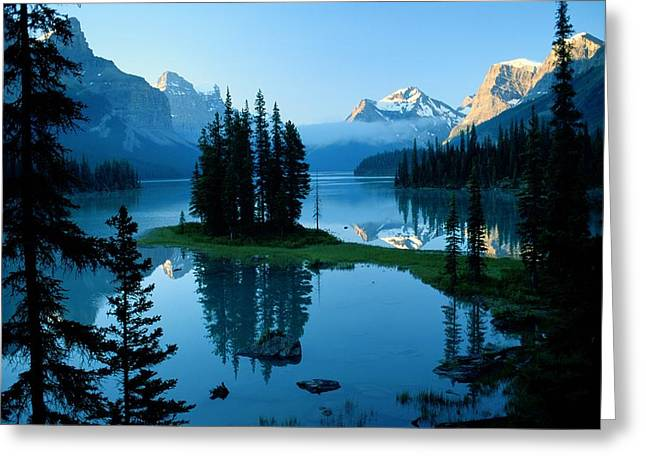 Placid Blue Greeting Cards - Scenic View Of Maligne Lake In Jasper Greeting Card by Raymond Gehman