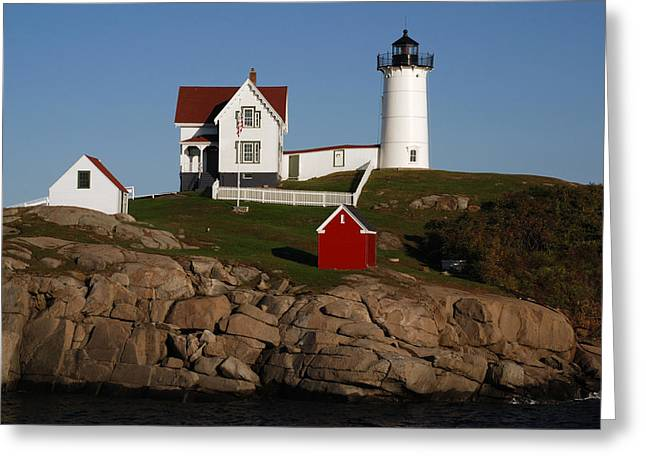 Cape Neddick Lighthouse Greeting Cards - Scenic View Of Nubble Light Greeting Card by Darlyne A. Murawski