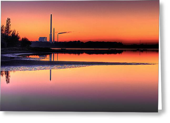 Teleheating Greeting Cards - Scenic view of Power Plant in sunset Greeting Card by Gert Lavsen