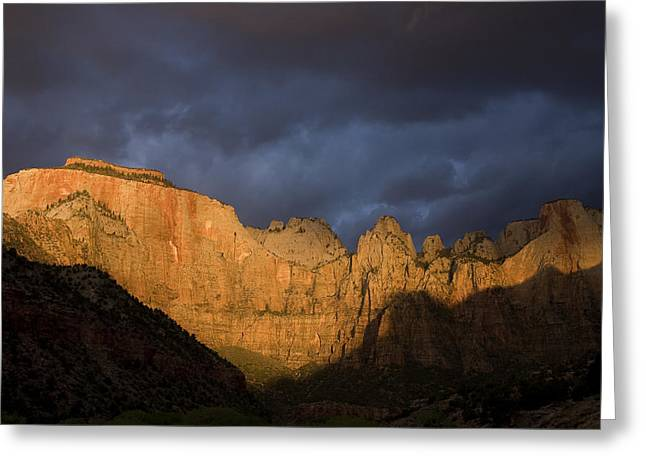 Utah Weather Greeting Cards - Scenic View Of Zion National Park Greeting Card by John Burcham