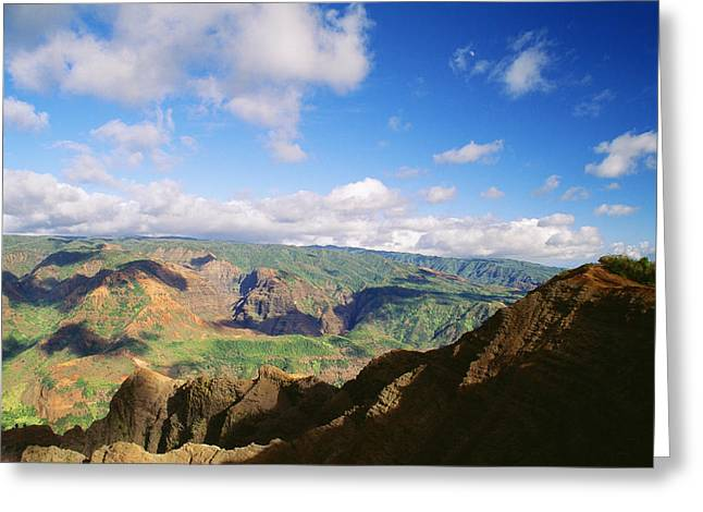 Waimea Valley Greeting Cards - Scenic Waimea Canyon Greeting Card by Carl Shaneff - Printscapes