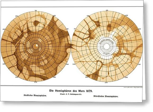 Planet Map Greeting Cards - Schiaparellis Map Of Mars, 1879 Greeting Card by Detlev Van Ravenswaay