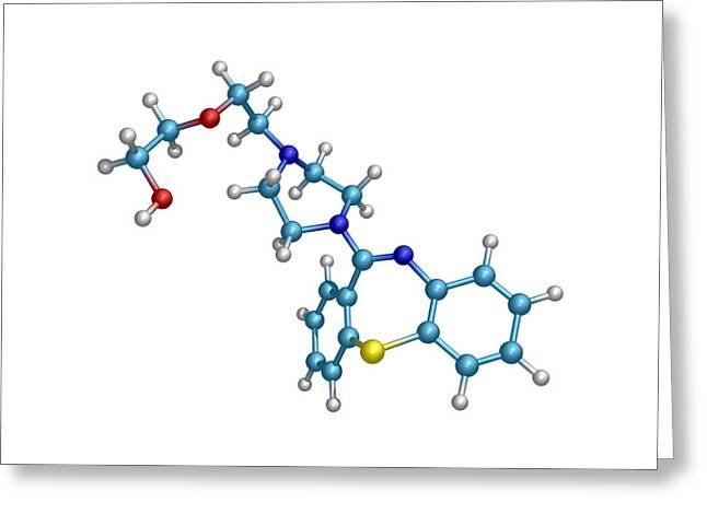 Schizophrenia Drug Molecule Greeting Card by Dr Tim Evans