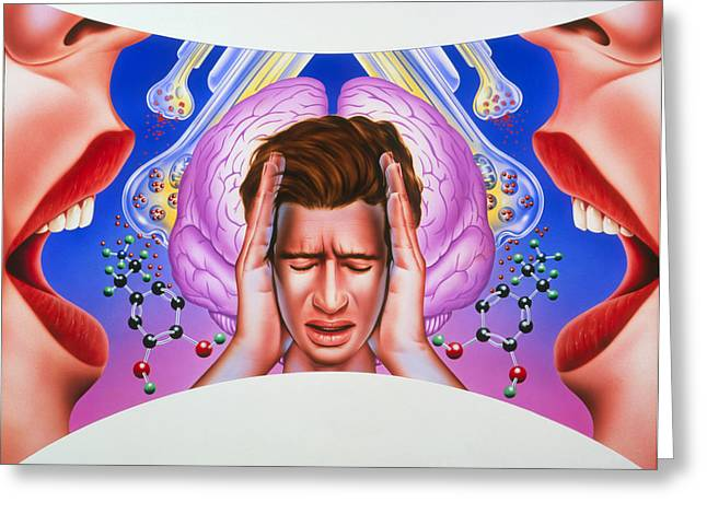 Hallucination Greeting Cards - Schizophrenia Greeting Card by John Bavosi