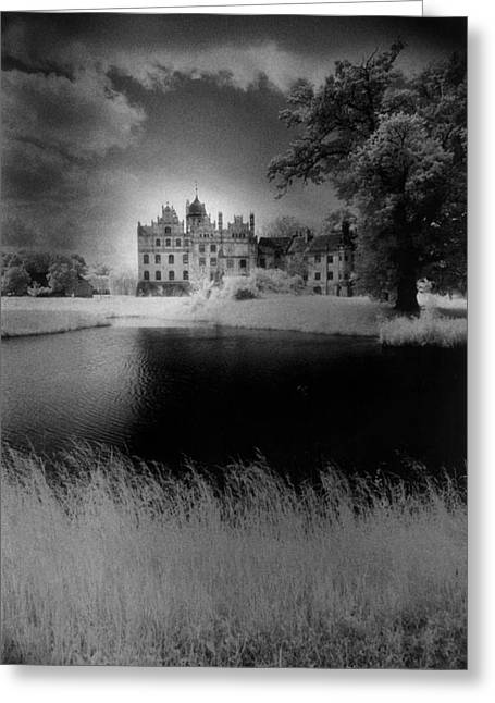 Grey Clouds Greeting Cards - Schloss Basedow Greeting Card by Simon Marsden