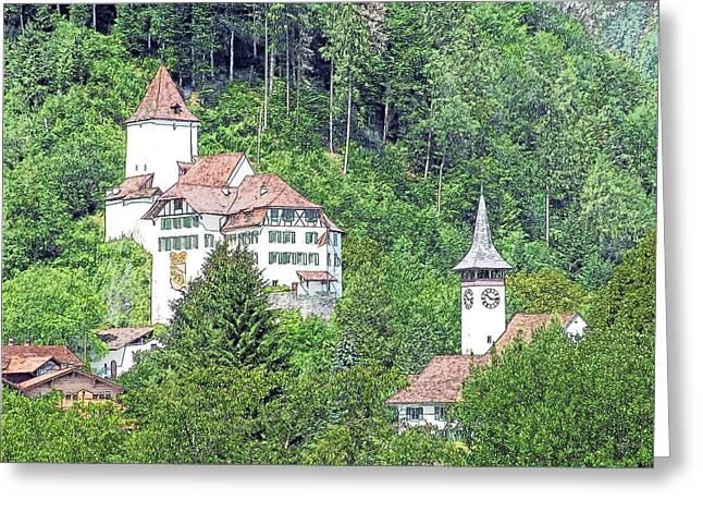 Schloss Wimmis And Church Switzerland Greeting Card by Joseph Hendrix