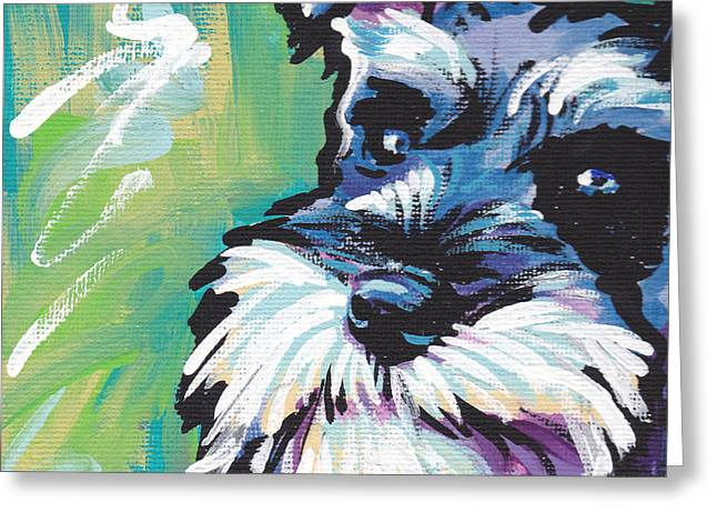 Miniature Greeting Cards - Schnauzer  Greeting Card by Lea
