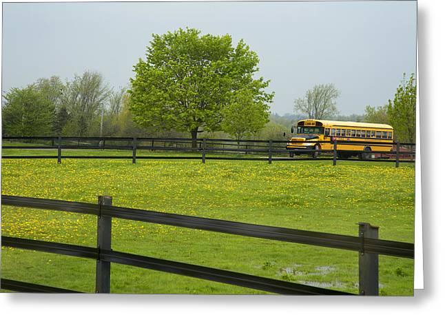 Rural School Bus Greeting Cards - School Bus In A Field In Rural Ontario Greeting Card by Marlene Ford
