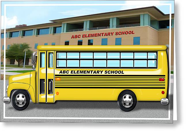 Computer Bus Greeting Cards - School Bus in Front of School  Greeting Card by Elaine Plesser