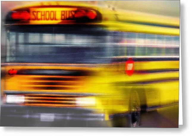 Punctual Greeting Cards - School Bus Rush Greeting Card by Steve Ohlsen