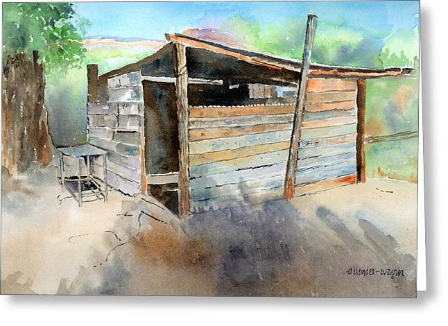 Shack Greeting Cards - School Cooking Shack - South Africa Greeting Card by Arline Wagner