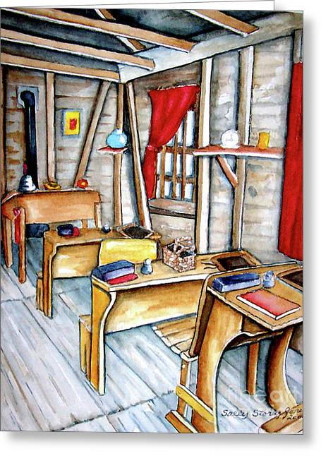 One Room School Houses Paintings Greeting Cards - School Days Greeting Card by Sally Storey Jones